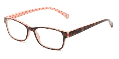 Angle of The Mildred in Pink/Green Tortoise, Women's Rectangle Reading Glasses