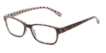 Angle of The Mildred in Purple/Green Tortoise, Women's Rectangle Reading Glasses