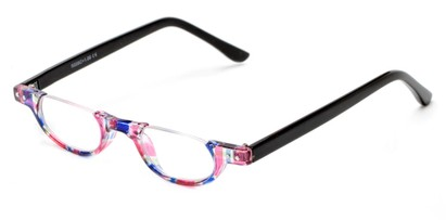Angle of The Rita in Pink Stripe/Black, Women's Oval Reading Glasses