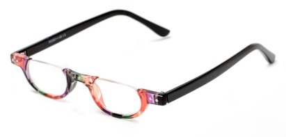 Angle of The Rita in Orange Stripe/Black, Women's Oval Reading Glasses