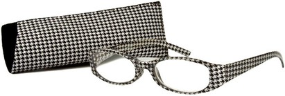 Angle of The Cora in Black/White, Women's Oval Reading Glasses