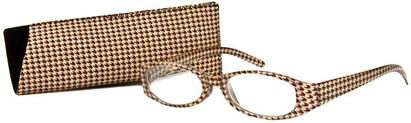 Angle of The Cora in Brown, Women's Oval Reading Glasses