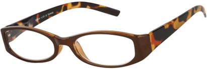 Angle of The Cora in Brown Cheetah, Women's Oval Reading Glasses