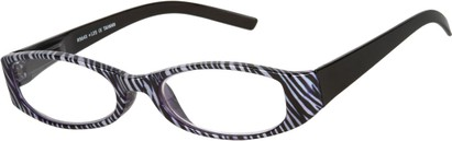 Angle of The Cora in Black/White Zebra, Women's Oval Reading Glasses