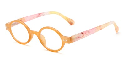 Angle of The Knitter in Orange, Women's Round Reading Glasses