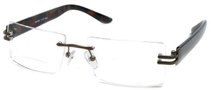 Angle of The Politician Bifocal in Bronze and Tortoise, Women's and Men's Rectangle Reading Glasses
