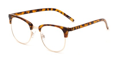 Angle of The Crafter in Brown Tortoise with Gold, Women's and Men's Browline Reading Glasses