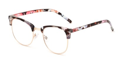 Angle of The Crafter in Black Floral with Gold, Women's and Men's Browline Reading Glasses