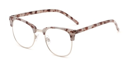 Angle of The Crafter in Grey/Brown Tortoise with Silver, Women's and Men's Browline Reading Glasses