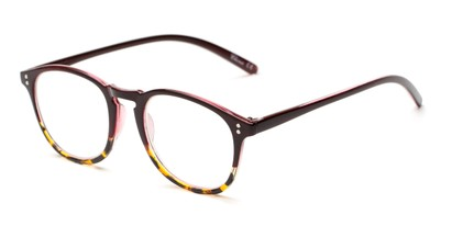Angle of The Sunshine in Dark Red/Tortoise Fade, Women's and Men's Round Reading Glasses