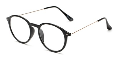 Angle of The Maloy in Black, Women's and Men's Round Reading Glasses