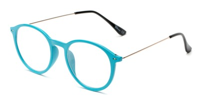 Angle of The Maloy in Blue, Women's and Men's Round Reading Glasses
