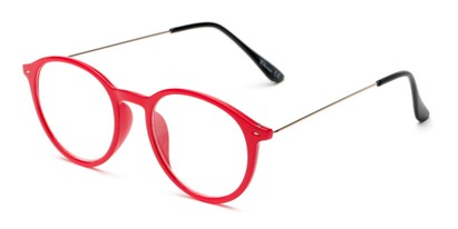 Angle of The Maloy in Red, Women's and Men's Round Reading Glasses