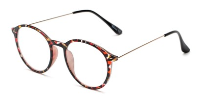 Angle of The Maloy in Red Tortoise, Women's and Men's Round Reading Glasses