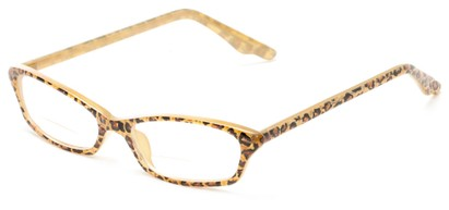 Angle of The June Bi-Focal in Tan Cheetah, Women's Cat Eye Reading Glasses