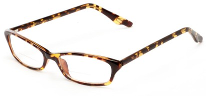 Angle of The June Bi-Focal in Brown and Yellow Tortoise, Women's Cat Eye Reading Glasses