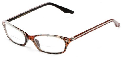 Angle of The June Bi-Focal in Brown Cheetah, Women's Cat Eye Reading Glasses