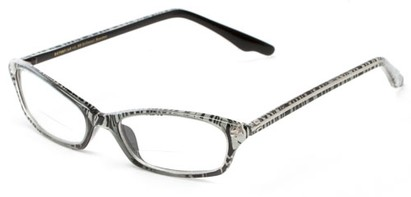 Angle of The June Bi-Focal in Black and White Zebra, Women's Cat Eye Reading Glasses