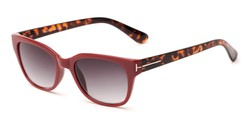 Angle of The Gaines Reading Sunglasses in Red/Tortoise with Smoke, Women's and Men's Retro Square Reading Sunglasses
