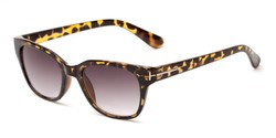 Angle of The Gaines Reading Sunglasses in Yellow Tortoise with Smoke, Women's and Men's Retro Square Reading Sunglasses