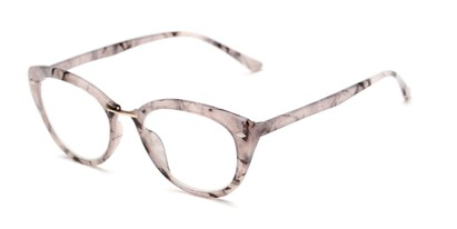 Angle of The Lark in Grey Marble, Women's Cat Eye Reading Glasses