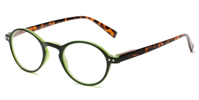 Angle of The Studio in Black/Green and Tortoise, Women's and Men's Round Reading Glasses