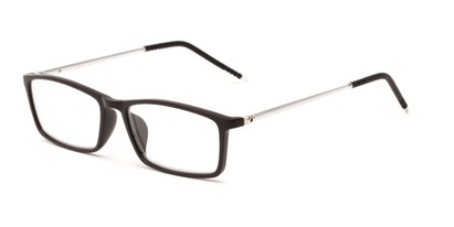 Angle of The Prince in Black/Silver, Women's and Men's Rectangle Reading Glasses