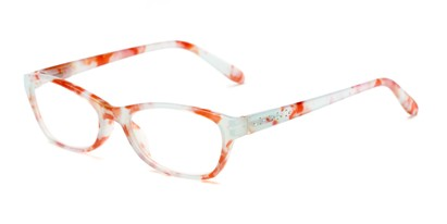 Angle of The Janice in Red Marble, Women's Rectangle Reading Glasses
