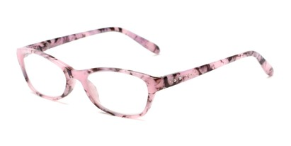 Angle of The Janice in Pink Marble, Women's Rectangle Reading Glasses