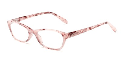 Angle of The Janice in Light Pink Marble, Women's Rectangle Reading Glasses