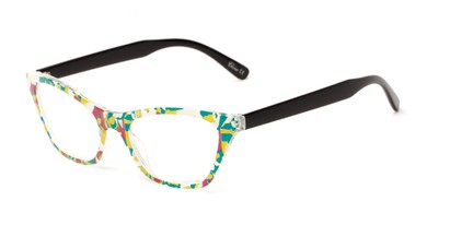 Angle of The Painter in Green/Blue Print with Black, Women's Cat Eye Reading Glasses