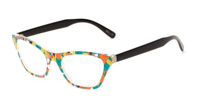 Angle of The Painter in Blue/Orange Print with Black, Women's Cat Eye Reading Glasses