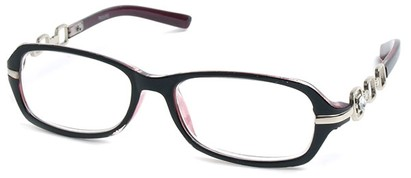 Angle of The Carlene in Black/Purple and Silver Frame, Women's and Men's
