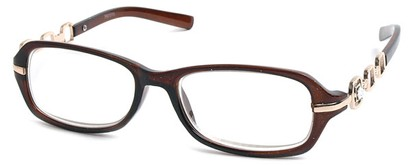 Angle of The Carlene in Brown and Gold Frame, Women's and Men's