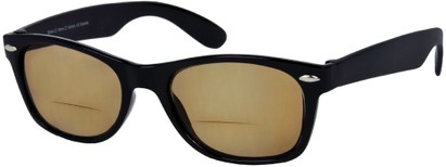 Angle of The Joliet Bifocal Reading Sunglasses in Black with Amber, Women's and Men's Retro Square Reading Sunglasses
