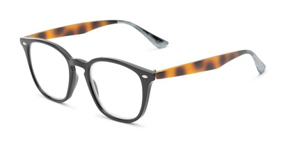 Angle of The Calloway in Black/Tortoise, Women's and Men's Retro Square Reading Glasses