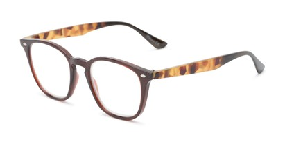 Angle of The Calloway in Dark Brown/Tortoise, Women's and Men's Retro Square Reading Glasses