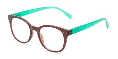 Angle of The Cotton in Brown/Green, Women's and Men's Round Reading Glasses