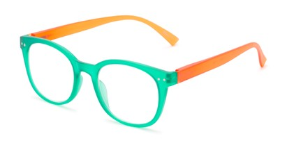 Angle of The Cotton in Green/Orange, Women's and Men's Round Reading Glasses