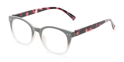 Angle of The Cotton in Grey Fade/Red Tortoise, Women's and Men's Round Reading Glasses