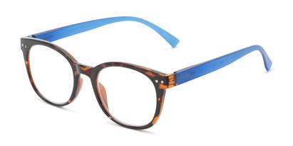 Angle of The Cotton in Tortoise/Blue, Women's and Men's Round Reading Glasses