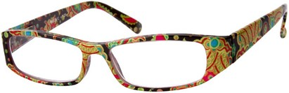 Angle of The India in Black Multi, Women's and Men's Rectangle Reading Glasses