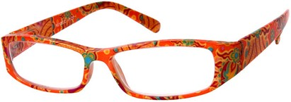Angle of The India in Orange Multi, Women's and Men's Rectangle Reading Glasses
