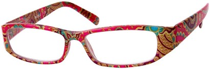 Angle of The India in Hot Pink Multi, Women's and Men's Rectangle Reading Glasses