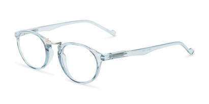 Angle of The Soren in Clear Blue, Women's and Men's Round Reading Glasses
