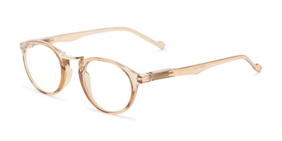 Angle of The Soren in Clear Brown, Women's and Men's Round Reading Glasses