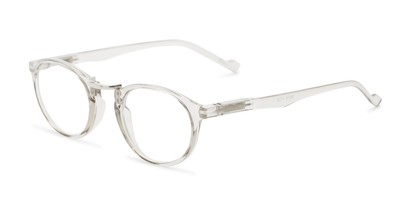 Angle of The Soren in Clear Grey, Women's and Men's Round Reading Glasses