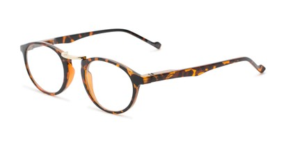 Angle of The Soren in Tortoise, Women's and Men's Round Reading Glasses