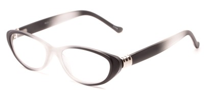 Angle of The Sapphire in Black/Clear Fade, Women's Cat Eye Reading Glasses