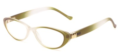 Angle of The Sapphire in Green/Clear Fade, Women's Cat Eye Reading Glasses